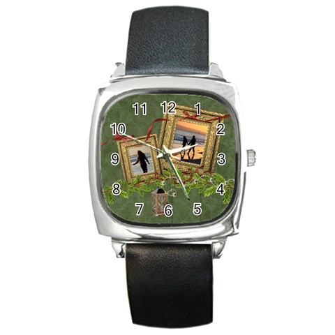 Shabbychristmas Vol1   Square Metal Watch  By Picklestar Scraps   Square Metal Watch   Kxf851u9j5kr   Www Artscow Com Front