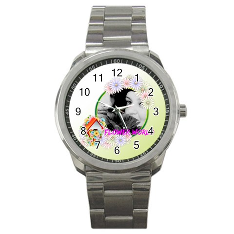 Flower By May   Sport Metal Watch   P3l9gyvabb94   Www Artscow Com Front