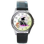 flower - Round Metal Watch