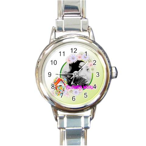 Flower By May   Round Italian Charm Watch   Zmdzqgd0c8rh   Www Artscow Com Front