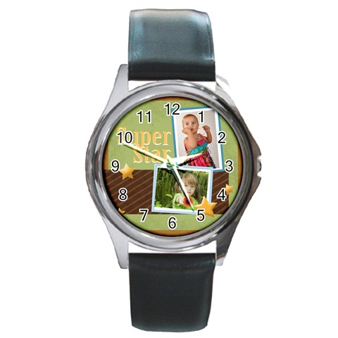 Super Star By Mac Book   Round Metal Watch   2mzw3lrfkewx   Www Artscow Com Front