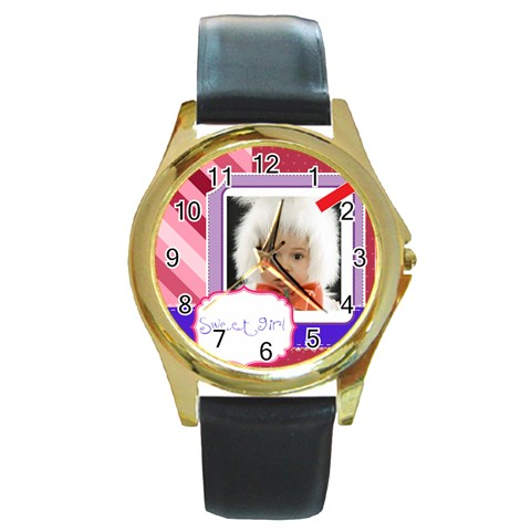 Sweet By Mac Book   Round Gold Metal Watch   B0e03nw6scj3   Www Artscow Com Front