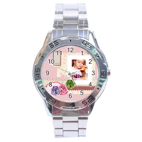 Pink Idea By Joely   Stainless Steel Analogue Watch   Ak7icqjt4nmg   Www Artscow Com Front