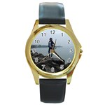 tony5 - Round Gold Metal Watch