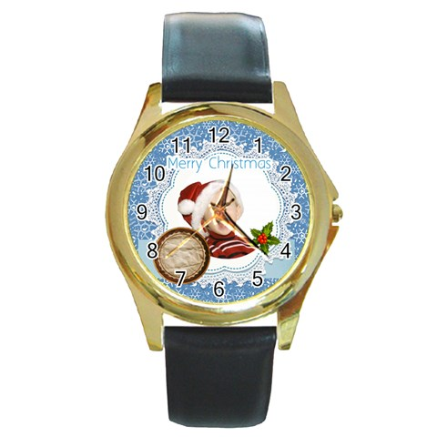 Xmas By Man   Round Gold Metal Watch   Pb148ehzbizg   Www Artscow Com Front