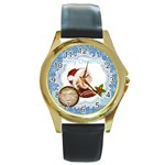 xmas - Round Gold Metal Watch