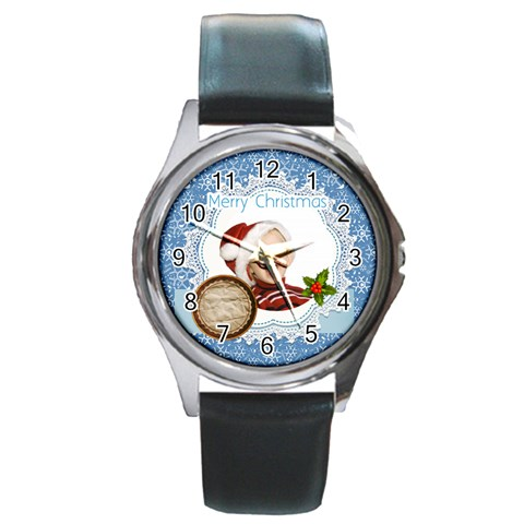 Xmas By Man   Round Metal Watch   T952c2wt4y96   Www Artscow Com Front