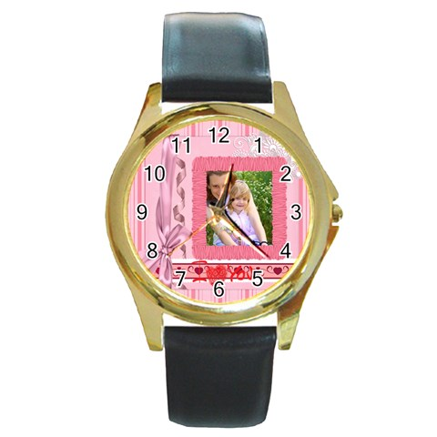 I Love You By Joely   Round Gold Metal Watch   5ym89ek4k4du   Www Artscow Com Front
