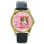 i love you - Round Gold Metal Watch