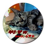 Meow - Collage Round Mousepad