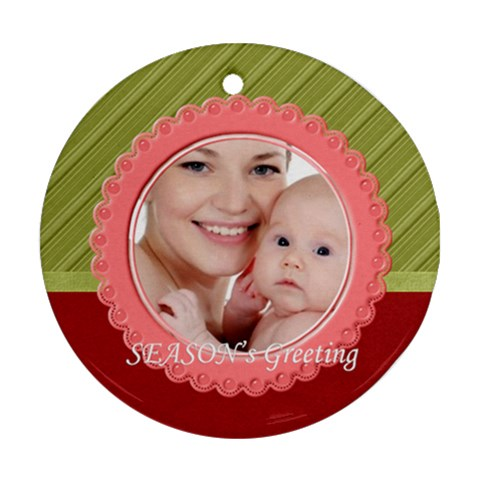Xmas By M Jan   Ornament (round)   4bzmb4hs1ks1   Www Artscow Com Front