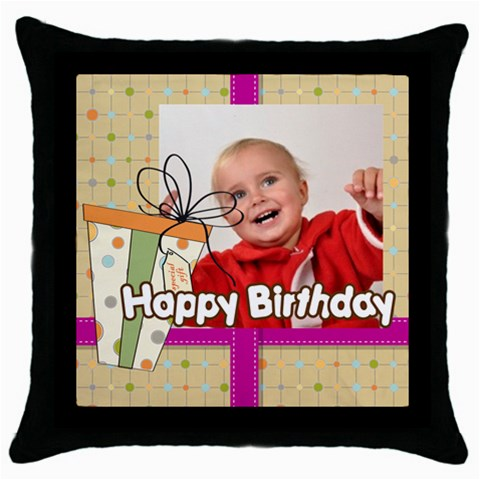 Happy Birthday By Man   Throw Pillow Case (black)   Rtuytxa5a8wc   Www Artscow Com Front