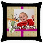happy birthday - Throw Pillow Case (Black)