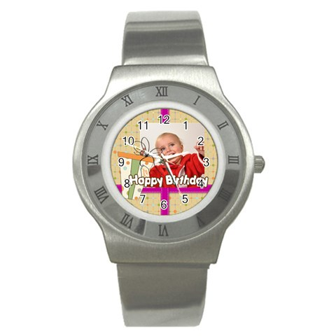Happy Birthday By Man   Stainless Steel Watch   Qo0hr7wvcqtj   Www Artscow Com Front