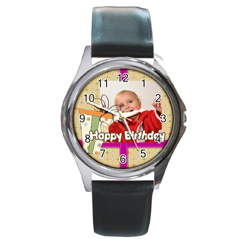 Happy Birthday By Man   Round Metal Watch   Jan7p0kwbyyd   Www Artscow Com Front
