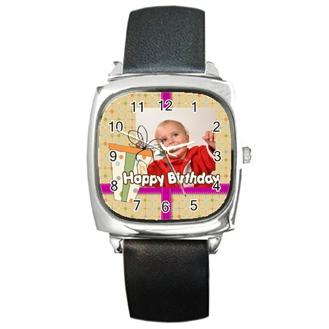 Happy Birthday By Man   Square Metal Watch   Hrtoxflowkhe   Www Artscow Com Front