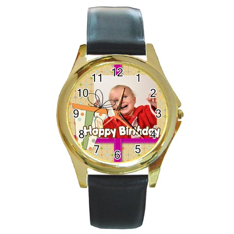 Happy Birthday By Man   Round Gold Metal Watch   46imdq90cc1u   Www Artscow Com Front