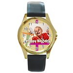 happy birthday - Round Gold Metal Watch