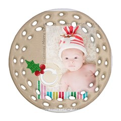 Xmas By Joely   Round Filigree Ornament (two Sides)   A9bhoewjb5q2   Www Artscow Com Front