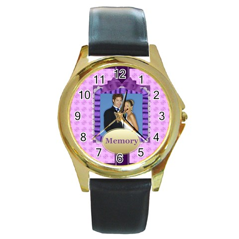 Memory By Joely   Round Gold Metal Watch   Ifbi8d4jq0wz   Www Artscow Com Front