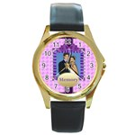 memory - Round Gold Metal Watch