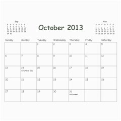 Calendar For Mom & Papa 2013 By Carrie Wardell   Wall Calendar 11  X 8 5  (12 Months)   92nk03zxm66z   Www Artscow Com Oct 2013