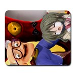 Old man looking at kid. - Large Mousepad