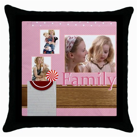 Family By Joely   Throw Pillow Case (black)   Eoj2n7v30bt5   Www Artscow Com Front