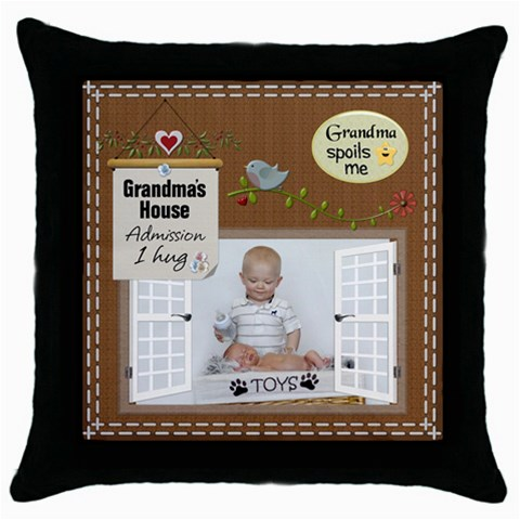 Grandmas House Throw Pillow Case By Lil    Throw Pillow Case (black)   Qbtwyjfezpz6   Www Artscow Com Front