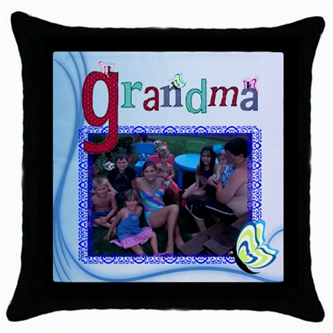 Grandma s Throw Pillow By Kim Blair   Throw Pillow Case (black)   F4nf1ay4eld7   Www Artscow Com Front