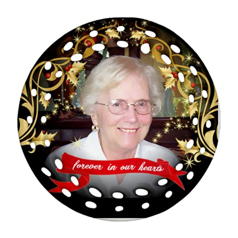 Mom Christmas Ornament 2012 By Pat Kirby   Ornament (round Filigree)   5h4mk0nnle5v   Www Artscow Com Front