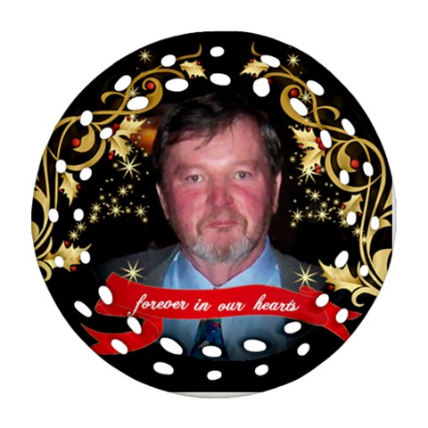 Eddie  Christmas Ornament 2012 By Pat Kirby   Ornament (round Filigree)   Vnca0oslp6m2   Www Artscow Com Front