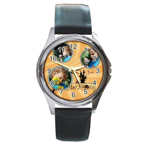 Halloween By M Jan   Round Metal Watch   Qfnysq1e4ez4   Www Artscow Com Front