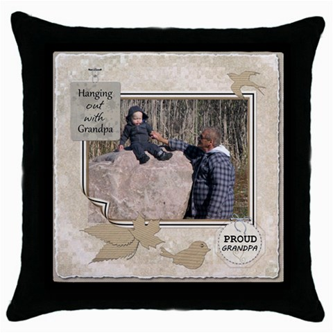 Grandpas Throw Pillow Case By Lil    Throw Pillow Case (black)   0yst6hw9xrqz   Www Artscow Com Front