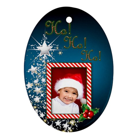 Ho Ho Ho Oval Ornament By Deborah   Ornament (oval)   5o41nme2f73p   Www Artscow Com Front