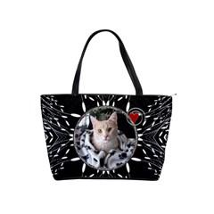 Black White Design Classic Shoulder Handbag By Lil    Classic Shoulder Handbag   R780s03zqd9n   Www Artscow Com Front