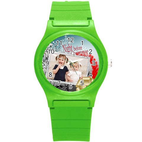 Xmas By Joely   Round Plastic Sport Watch (s)   0cnst18et8sv   Www Artscow Com Front