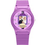 purple girl - Round Plastic Sport Watch (S)