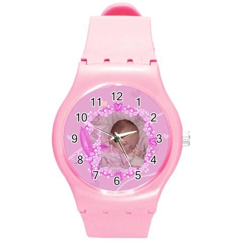 Pink Plastic Floral Sport Watch By Kim Blair   Round Plastic Sport Watch (m)   55wy6yfwpfl7   Www Artscow Com Front
