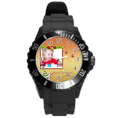 Xmas By Wood Johnson   Round Plastic Sport Watch (l)   Qz4o5d3m1bt1   Www Artscow Com Front