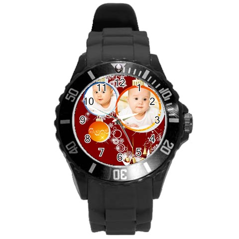 Xmas By Wood Johnson   Round Plastic Sport Watch (l)   Shzj6np2e45u   Www Artscow Com Front