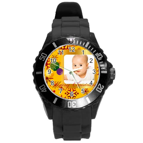 Xmas By Wood Johnson   Round Plastic Sport Watch (l)   Ewtl6t2ruytq   Www Artscow Com Front