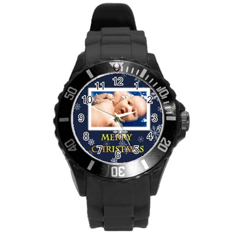 Xmas By Wood Johnson   Round Plastic Sport Watch (l)   Ku2x61pnopzo   Www Artscow Com Front
