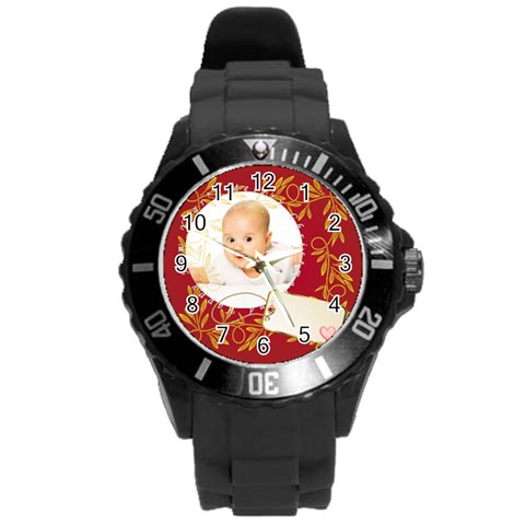 Xmas By Wood Johnson   Round Plastic Sport Watch (l)   Zo16nf9jx5t0   Www Artscow Com Front