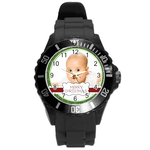 Xmas By Wood Johnson   Round Plastic Sport Watch (l)   Y2j7yoyuruhc   Www Artscow Com Front