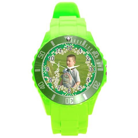 Green Sport Watch Large Floral Frame By Kim Blair   Round Plastic Sport Watch (l)   M9l56j59s4is   Www Artscow Com Front