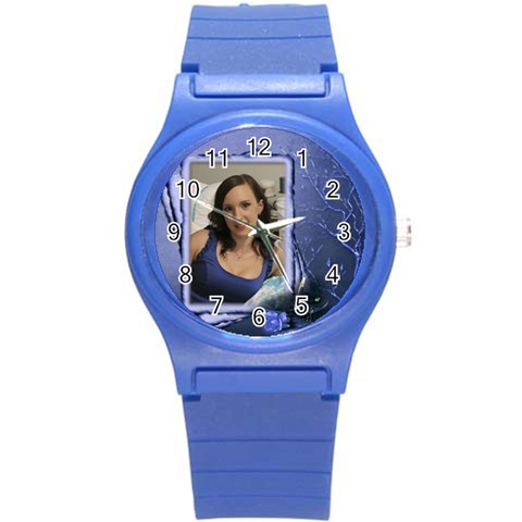 Love My Round Plastic Sport Watch Small By Deborah   Round Plastic Sport Watch (s)   A8qjem7e0rmb   Www Artscow Com Front
