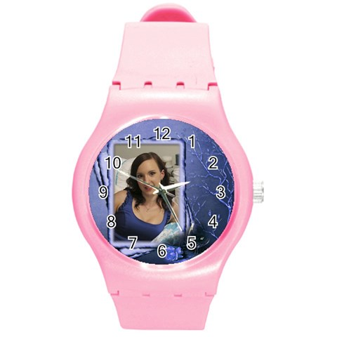 Love My Round Plastic Sport Watch Medium By Deborah   Round Plastic Sport Watch (m)   38feg0pszwo8   Www Artscow Com Front
