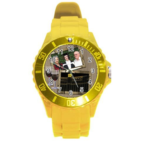 Time For A Wine Round Plastic Sport Watch Large By Deborah   Round Plastic Sport Watch (l)   Uu63gkkh1y1c   Www Artscow Com Front
