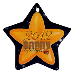 Happy Holidays 2012 Double Sided Star Ornament By Catvinnat   Star Ornament (two Sides)   4q89yvwsqhuo   Www Artscow Com Front